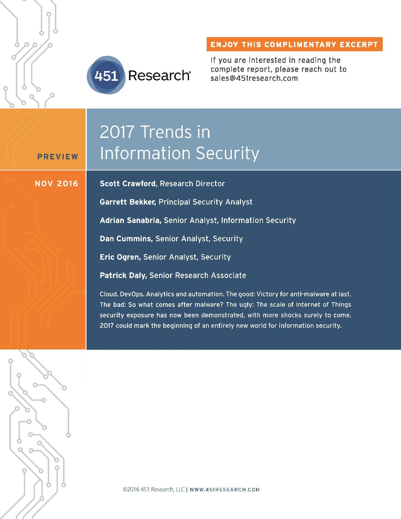 Schön Bad Trends 2017 Das Beste Von Rmation Security - 451 Research - Analyzing